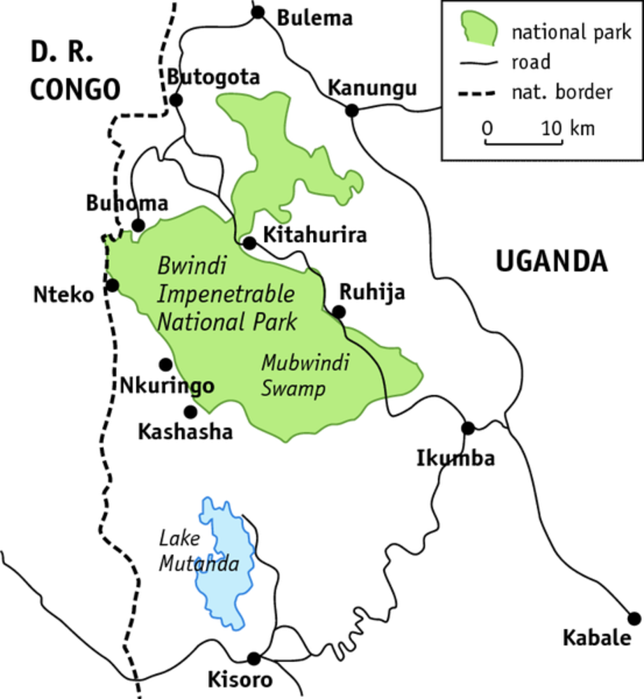 Map of Bwindi Impenetrable Forest